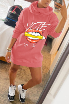 Autumn Winter Sporty Mouth Graphic Long Sleeve Hoodie Midi Dress AA5207