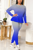 Sexy Long Sleeve Round Neck Self Belted Flounce Long Pants Sets XQ1064