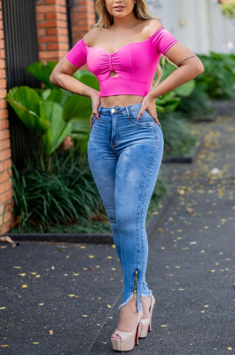 Casual Tassel Hem Slit Long Pants High Stretch Jeans JLX5517