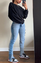 Casual Blazer Spliced Mid Waist Jeans XQ1058
