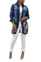 Sexy Polyester Leopard Long Sleeve Spliced Denim Top Jackets SMR9625