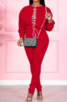Christmas Pure Color Sexy Spliced Rope Two-Piece SMY8058