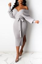 Elegant Halterneck V Neck Off Shoulder Self Belted Waist Tie Long Dress FFE036