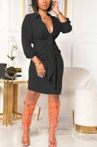 Modest Sexy Long Sleeve Lapel Neck Midi Dress SH7231