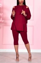 Casual Long Sleeve Off Shoulder Split Hem Tee Top Pants Sets QQ5222
