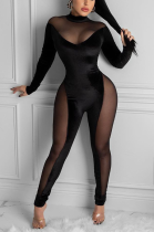 Sexy Long Sleeve High Neck Mesh Spliced Bodycon Jumpsuit CY1256