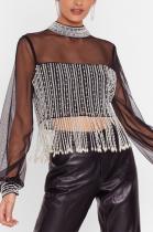 Sexy Polyester Long Sleeve Round Neck Lantern Sleeve Tassel Hem Tee Top CCY1339