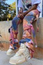 Casual Blazer Tie Dye Self Belted Ruffle Long Pants ALS228