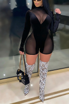 Sexy Long Sleeve Round Neck See Through Polyester Mesh Short Pants Bodycon Jumpsuit CCY8815