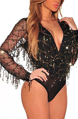Night Out Sexy Long Sleeve Deep V Neck Short Bodycon Jumpsuit CCY1336