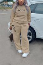 Casual Letter Round Neck Slant Pocket Tee Top Long Pants Sets T3574