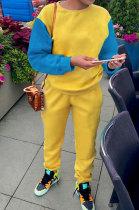 Contrast Color Spliced Fashion Hooded Fleece Casual Sport Sets L0332