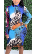 Sexy Leopard Long Sleeve Stand Collar Long Dress LS6406