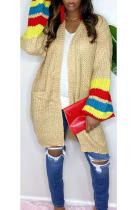 Casual Mohair Long Sleeve Contrast Binding Longline Top Sweater Cardigan HG088