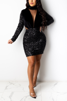Casual Long Sleeve Round Neck Spliced Insulation Thick Velour Sequins Midi Dress CM802