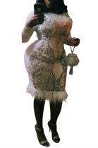 Casual Autumn Winter Long Sleeve Spliced Sequins Ostrich Hair Skirt Long Dress CCY1356