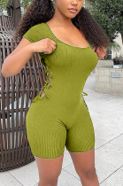 Casual Sexy Short Sleeve Scoop Neck Hollow Out Bodycon Jumpsuit CL6066