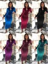 Half Zip-Up Bodycon Long Dress