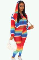 Rainbow Bar Printing Long Sleeve Hooded Casual Two-Piece YM155