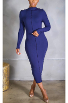 Casual Simplee Long Sleeve Round Neck Long Dress YYF8147