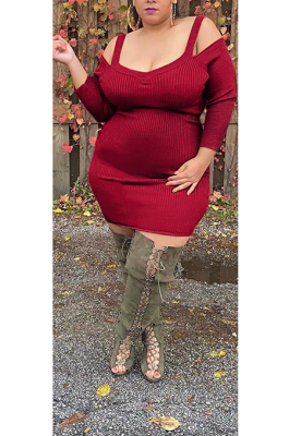 Night Out Sexy Long Sleeve Cold Shoulder Hollow Out Plus Slip Dress GL7005
