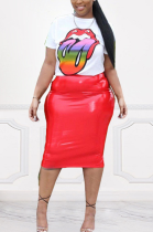Casual Simplee Pu Leather Short Sleeve Round Neck Tee Top Short Skirt Sets KSN5055