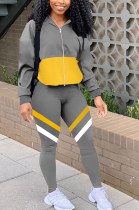 Casual Sporty Long Sleeve Spliced Hoodie Long Pants Sets KSN8059
