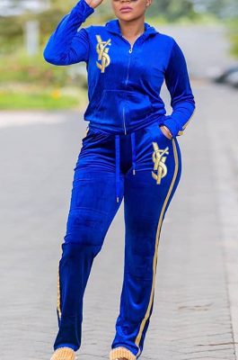 Casual Polyester Letter Long Sleeve Embroidered Zipper Hoodie Plus Long Pants Sets EF20937