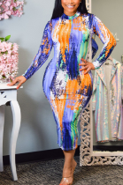 Sexy Tie Dye Long Sleeve Round Neck Long Dress KY3040