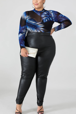 Casual Modest Pu Leather High Waist Long Pants QZ5272
