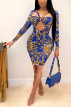 Sexy Pop Art Print Long Sleeve Round Neck Midi A Line Dress ED8338