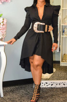Bubble Sleeve Dress Comfort Cardigan Shirt Dress Long Sleeve Full-Skirted Dress YY5242