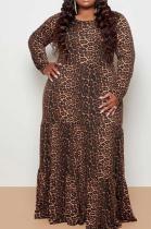 Modest Leopard Long Sleeve Round Neck Long Dress CCY1384
