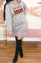 Casual Hooded Positioning Printing Fleece Dress BLE2201