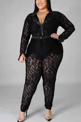 Sexy Mesh Long Sleeve Deep V Neck Hollow Out Bodycon Jumpsuit Pants Sets QZ5271