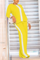 Casual Long Sleeve Round Neck Flounce Tee Top Wide Leg Pants Sets F8316