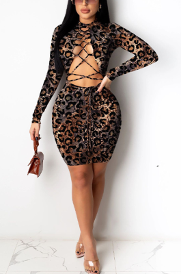 Sexy Leopard Long Sleeve Self Belted Hollow Out Mini Dress HM5406