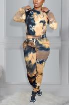Casual Tie Dye Long Sleeve Waist Tie Hoodie Tee Top Long Pants Sets KK8236