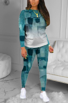 Casual Tie Dye Long Sleeve Round Neck Tee Top Long Pants Sets R6379