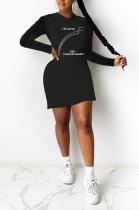 Street Style Letter Long Sleeve Round Neck Mini Dress SH7232