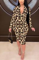 Sexy Leopard Long Sleeve Ruffle Midi Dress HM5405