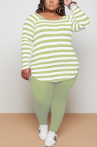 Casual Simplee Striped Long Sleeve Round Neck Capris Pants Sets NY5068