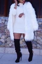 Elegant Long Sleeve Faux Fur Cardigan Jacket Medium Length ZS0324