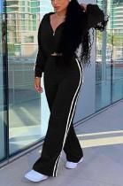 Basics Sporty Polyester Long Sleeve Spliced Long Pants Coat Sets SM9131