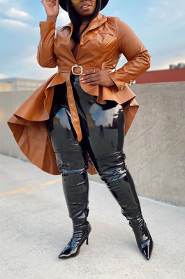 Elegant Pu Leather Long Sleeve Irregular Lapel Neck Belted SDE1190