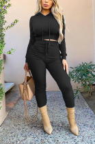 Casual Polyester Long Sleeve Knotted Strap Pit Strip Hoodie Long Pants Sets WJ5118