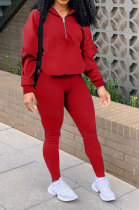 Pure Color Zipper Casual Sport Two-Piece LY610