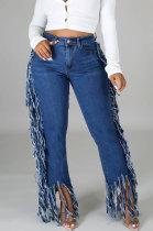 Womenswear Sexy Side Tassel Water Washing Jeans Long Pants LA3236