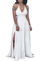 Sexy Pure Color Cultivate One's Morality Gallus Hollow Out Dew Waist Long Dress SN3649