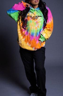 Womenswear Upset Tie Dye Whirlpool Colorful Fashion Loose Fleece Street Graffiti Set Head Hoodie TopsLBA1126